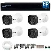 Kit 4 Câmeras de Segurança HB Tech HD 720p + DVR Luxvision All HD 5 em 1 ECD + Acessórios