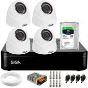 Kit 4 Câmeras de Segurança HD 720p Giga GS0019 Orion + DVR Giga Security + HD 1 TB + Acessórios