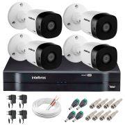 Kit 4 Câmeras VHD 1120 B G5 + DVR Intelbras + App Grátis de Monitoramento, Câmeras HD 720p 20m Infravermelho de Visão Noturna Intelbras + Fonte, Cabos e Acessórios