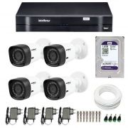 Kit 4 Câmeras de Segurança HD 720p Intelbras VHD 1120B G4 + DVR Intelbras Multi HD + HD WD Purple 1TB + Acessórios