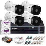 Kit 4 Câmeras VHD 3130 B G5 + DVR Intelbras + HD 1TB para Armazenamento +  App Grátis de Monitoramento, Câmeras HD 720p 30m Infravermelho de Visão Noturna Intelbras + Fonte, Cabos e Acessórios