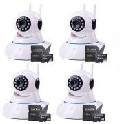 Kit 4 Câmeras de Segurança IP Sem Fio Wifi HD 720p Robo Wireless + Cartão SD de Armazenamento 16GB