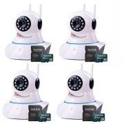 Kit 4 Câmeras de Segurança IP Sem Fio Wifi HD 720p Robo Wireless + Cartão SD de Armazenamento 32GB