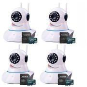 Kit 4 Câmeras de Segurança IP Sem Fio Wifi HD 720p Robô Wireless + Cartão SD de Armazenamento 32GB