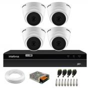 Kit 4 Câmeras Dome VHD 1120 D G6 20m de Infravermelho Para Ambiente Interno + DVR Gravador de Video Inteligente Intelbras MHDX 1204 4 Canais H.265+