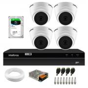 Kit 4 Câmeras Dome VHD 1120 D G6 20m de Infravermelho Para Ambiente Interno + DVR Gravador de Video Inteligente Intelbras MHDX 1204 4 Canais + HD 1TB