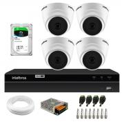 Kit 4 Câmeras Dome VHD 1120 D G6 20m de Infravermelho Para Ambiente Interno + DVR Gravador de Video Inteligente Intelbras MHDX 1204 4 Canais + HD 2TB