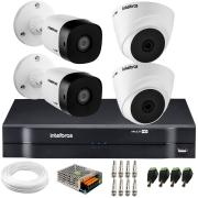 Kit 4 Câmeras de Segurança VHD 1010 Dome + VHD 1010 Bullet, HD 720p 1MP - Lente 3.6 mm + DVR MHDX 1104 + APP Grátis de Monitoramento