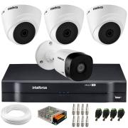 Kit 4 Câmeras de Segurança VHD 1010 Dome + VHD 1010 Bullet, HD 720p 1MP - Lente 3.6 mm + DVR MHDX-1104 + APP Grátis de Monitoramento
