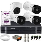 Kit 4 Câmeras de Segurança VHD 1010 Dome + VHD 1010 Bullet, HD 720p 1MP - Lente 3.6 mm + DVR MHDX 1104 + HD 1TB Purple + APP Grátis de Monitoramento