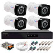 Kit 4 Câmeras + DVR Hikvision + App de Monitoramento, Câmeras Full HD 1080 Lite 25m Infravermelho de Visão Noturna Tudo Forte Completo com Acessórios