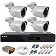 Kit 4 Câmeras + DVR Hikvision + Fonte, Cabos e Acessórios - Câmeras Hilook THC B120C-P Full HD 1080 Lite 20m Infra e Visão Noturna
