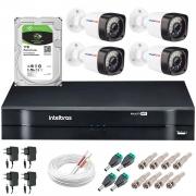 Kit 04 Câmeras HD 720p 20m Infravermelho de Visão Noturna + DVR Intelbras + HD 1 TB + App Grátis de Monitoramento + Fonte, Cabos e Acessórios