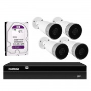 Kit 4 Câmeras Externas Wi-Fi Mibo Full HD 1080p IM5 Intelbras + 1 NVR Stand Alone 04 Canais 6MP NVD 1304 Intelbras + 1 HD Interno WD Purple 1TB Surveillance SATA III