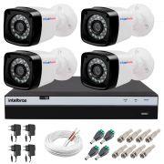 Kit 4 Câmeras + DVR Intelbras + App Grátis de Monitoramento, Câmeras Full HD 1080p 20m Infravermelho de Visão Noturna + Fonte, Cabos e Acessórios