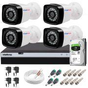 Kit 4 Câmeras + DVR Intelbras + HD 1 TB + App de Monitoramento, Câmeras Full HD 1080p 20m Infravermelho de Visão Noturna + Fonte, Cabos e Acessórios