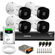 Kit 4 Câmeras Intelbras Bullet VHD 1420 B G6 4MP 2K Quad HD + Gravador de Vídeo Digital Com Inteligência Artificial iMHDX 3008 8 Canais + HD 2TB