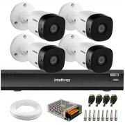 Kit 4 Câmeras Intelbras Bullet VHD 1420 B G6 4MP 2K Quad HD, Visão Noturna 20 metros Gravador de Vídeo Digital          Com Inteligência Artificial iMHDX 3008 8 Canais + Acessórios