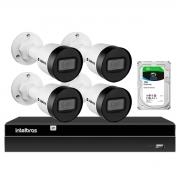 Kit 4 Câmeras Intelbras HD 720p VIP 1130 B 3,6mm Bullet IP67 + Gravador Digital de Vídeo NVR NVD 1404 - 4 Canais + HD 1TB
