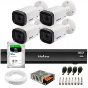 Kit 4 Câmeras Varifocal Bullet Intelbras Multi HD VHD 3240 VF G6 IP67 IR 40m + DVR Gravador Inteligente iMHDX 3004 4 Canais + HD 2TB