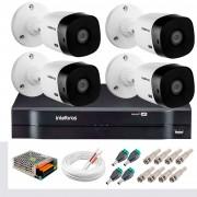 Kit 4 Câmeras Intelbras VHL 1220 B Full HD 1080 Lite + DVR Intelbras + Acessórios Completo - Câmeras com 20m Infravermelho de Visão Noturna