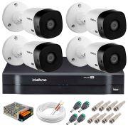 Kit 4 Câmeras Intelbras VHL 1220 B Full HD 1080 Lite + DVR Intelbras - Câmeras com 20m Infravermelho de Visão Noturna + Fonte, Cabos e Acessórios