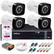 Kit 4 Câmeras Tudo Forte Full HD 1080 Lite + DVR Intelbras + Acessórios Completo - Câmeras com 25m Infravermelho de Visão Noturna