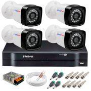 Kit 4 Câmeras Tudo Forte Full HD 1080 Lite + DVR Intelbras - Câmeras com 25m Infravermelho de Visão Noturna + Fonte, Cabos e Acessórios