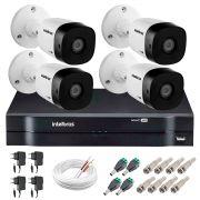 Kit 4 Câmeras VHD 1010 B G5 + DVR Intelbras + App Grátis de Monitoramento, Câmeras HD 720p 10m Infravermelho de Visão Noturna Intelbras + Fonte, Cabos e Acessórios