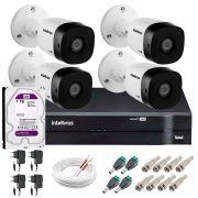Kit 4 Câmeras VHD 1010 B G5 + DVR Intelbras + HD 1TB + App Grátis de Monitoramento, HD 720p 10m Infravermelho + Cabos e Acessórios