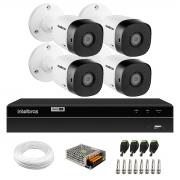 Kit 4 Câmeras Bullet de Segurança VHD 1010 B Infra + DVR Gravador de Video Inteligente Intelbras MHDX 1204 4 Canais H.265+