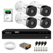 Kit 4 Câmeras Bullet de Segurança VHD 1010 B Infra + DVR Gravador de Video Inteligente Intelbras MHDX 1204 4 Canais  + HD 2TB