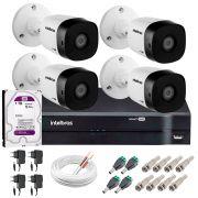 Kit 4 Câmeras HD 720p 20m Infravermelho de Visão Noturna VHD 1120 B G5 + DVR Intelbras + HD 1TB para Armazenamento + App Grátis de Monitoramento