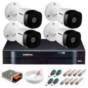 Kit 4 Câmeras VHD 3120 B G5 + DVR Intelbras + App Grátis de Monitoramento, Câmeras HD 720p 20m Infravermelho de Visão Noturna Intelbras + Fonte, Cabos e Acessórios