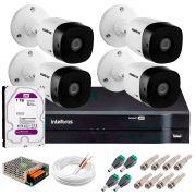 Kit 4 Câmeras VHD 3120 B G5 + DVR Intelbras + HD 1TB para Armazenamento + App Grátis de Monitoramento, Câmeras HD 720p 20m Infravermelho de Visão Noturna Intelbras + Fonte, Cabos e Acessórios