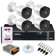 Kit 4 Câmeras VHD 3120 B G6 + DVR Intelbras + HD 1TB para Armazenamento + App Grátis de Monitoramento, Câmeras HD 720p 20m Infravermelho de Visão Noturna Intelbras + Fonte, Cabos e Acessórios