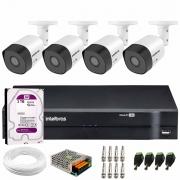 Kit 4 Câmeras VHD 3120 B G6 + DVR Intelbras + HD 3 TB + App + Fonte, Cabos e Acessórios