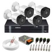 Kit 4 Câmeras VHD 3130 B G6 + DVR Intelbras + App Grátis de Monitoramento, Câmeras HD 720p 30m Infravermelho de Visão Noturna Intelbras + Fonte, Cabos e Acessórios