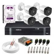 Kit 4 Câmeras VHD 3130 B G6 + DVR Intelbras + HD 1TB para Armazenamento + App Grátis de Monitoramento, Câmeras HD 720p 30m Infravermelho de Visão Noturna Intelbras + Fonte, Cabos e Acessórios