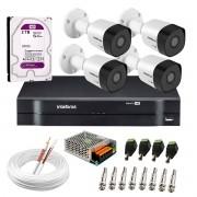Kit 4 Câmeras VHD 3130 B G6 + DVR Intelbras + HD 2 TB para Armazenamento + App Grátis de Monitoramento, Câmeras HD 720p 30m Infravermelho de Visão Noturna Intelbras + Fonte, Cabos e Acessórios