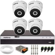 Kit 4 Câmeras VHD 3220 Full HD 1080p + DVR Intelbras MHDX 3108 + App Grátis de Monitoramento, 20m Infravermelho de Visão Noturna + Fonte, Cabos e Acessórios