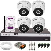 Kit 4 Câmeras VHD 3220 Full HD 1080p + DVR Intelbras MHDX 3108 + HD 1 TB + App Grátis de Monitoramento, 20m Infravermelho de Visão Noturna + Fonte, Cabos e Acessórios