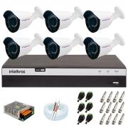 Kit 6 Câmera Bullet Híbrida 4 Em 1 Infravermelho 2k Tudo Forte 3,6mm 5MP + DVR Intelbras 3108 + App Grátis de Monitoramento