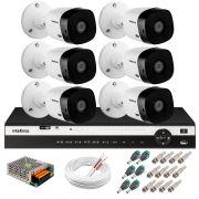 Kit 6 Câmeras 2K VHD 1420B + DVR Intelbras + App Grátis de Monitoramento, Câmeras 20m Infravermelho de Visão Noturna + Fonte, Cabos e Acessórios