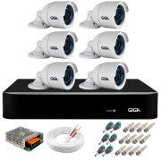Kit 6 Câmeras  5MP + DVR Giga +  App de Monitoramento, Câmeras 30m Infravermelho de Visão Noturna Giga Security GS0047 Completo com Acessórios