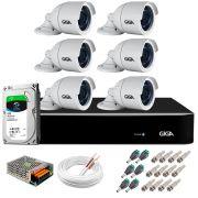 Kit 6 Câmeras 5MP + DVR Giga +  HD 1TB + App de  Monitoramento, Câmeras 30m Infravermelho de Visão Noturna Giga Security GS0047 Completo com Acessórios