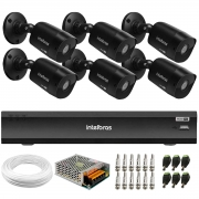 Kit 6 Câmeras Black Intelbras VHD 1220 B G6 Full HD 1080p + DVR Intelbras iMHDX 3008 + Acessórios
