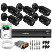 Kit 6 Câmeras Black Intelbras VHD 1220 B G6 Full HD 1080p + DVR Intelbras iMHDX 3008 + HD 1TB