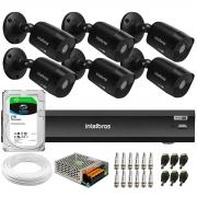 Kit 6 Câmeras Black Intelbras VHD 1220 B G6 Full HD 1080p + DVR Intelbras iMHDX 3008 + HD 2TB