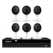 Kit 6 Câmeras com Inteligência Artificial Full HD iM3 Intelbras Branca + 1 NVR 08 Canais 6MP NVD 1308 Intelbras